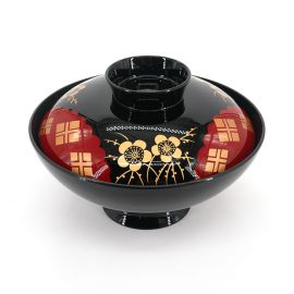 Lacquered miso soup bowl with golden flowers cover, UME HANA, black and red