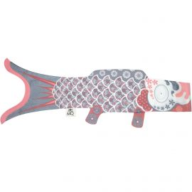 Koi carp-shaped windsock KOINOBORI silver
