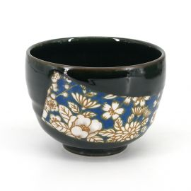 Japanese tea bowl for ceremony - chawan, HANA, blue flowers