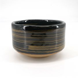 Japanese tea ceremony bowl - chawan, KURO, black and spiral