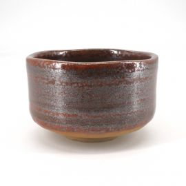 Japanese tea ceremony bowl - chawan, BORUDO, burgundy