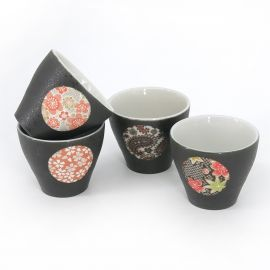 japanese black 4 cups set with circle YUZEN
