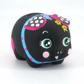 Piggy bank, KURO, black with hearts and flowers