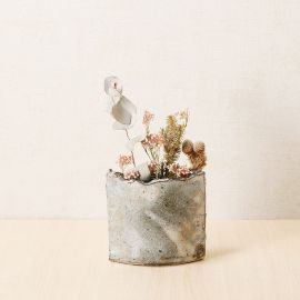 Japanese clay vase, BEJUGURE, gray and beige