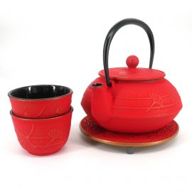Japanese cast iron teapot cups and trivet set, IWACHU GINGKO, red