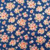 Japanese blue cotton fabric, sakura patterns, cherry blossoms