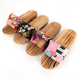 the pair of Japanese wooden clogs, GETA 3062A, red