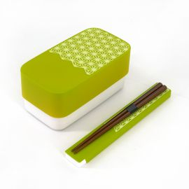 Japanese rectangular bento lunch box, WAKABA IRO ASANOHA, green + chopsticks