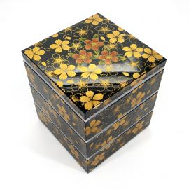 Large jyubako lunch box, HANA NO MAI, black and gold