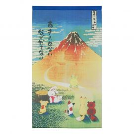 Japanese noren polyester curtain, AKAFUJI USAGI TO KAME