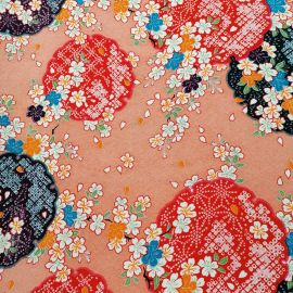 Japanese pink polyester chirimen fabric with cherry blossom motif, SAKURA, made in Japan width 112 cm x 1m