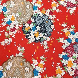 Japanese red polyester chirimen fabric with cherry blossom motif, SAKURA, made in Japan width 112 cm x 1m
