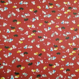 Japanese red cotton fabric with cat motif, NEKO, made in Japan width 112 cm x 1m