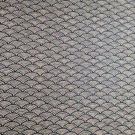 Japanese blue cotton fabric with wave pattern, SEIGAIHA, made in Japan width 112 cm x 1m