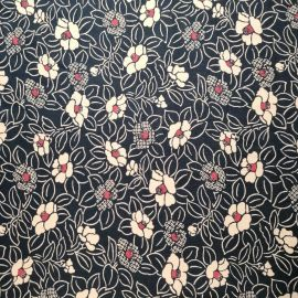 Japanese blue cotton fabric with camellia pattern, TSUBAKI, made in Japan width 112 cm x 1m