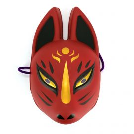 Traditional Japanese fox mask, KITSUNE, red and gold