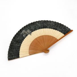 Vintage Japanese fan in paper and bamboo, KOMAINU, protective lion
