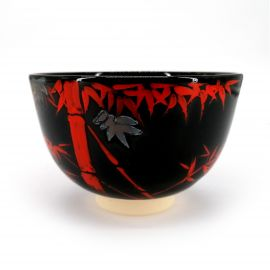 Japanese tea bowl for ceremony, NINSEI, red bamboo
