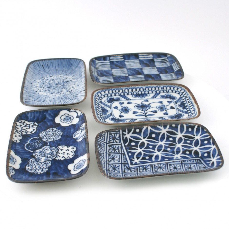 set de 5 assiettes rectangulaires japonaises 15343