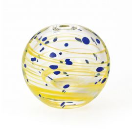japanese glass vase, YÛGUMO, yellow and blue