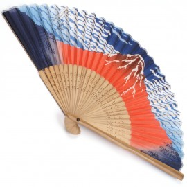 japanese fan - silk and bamboo - Akafuji hokusai