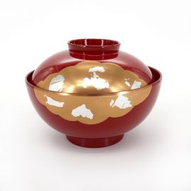 bowl of soup with red lid, KINUN, clouds