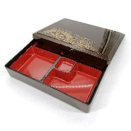 Rectangular bento lunch box with compartments, golden brown, HOIRU
