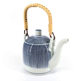 Japanese teapot with bamboo handle, HEIHO, blue and white