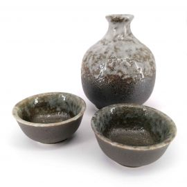 Japanese ceramic sake service, gray and brown, 2 glasses and 1 bottle, GENZAIRYO