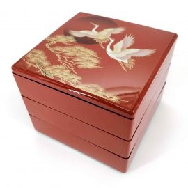 Bento lunch box, 3 compartments, red, cranes and sunrise, KUREN TO HINODE