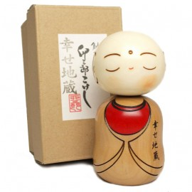 Japanese doll wooden KOKESHI. handmade in Japan - SHIAWAZE JIZO