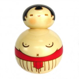 Japanese doll wooden KOKESHI - Osumosan red