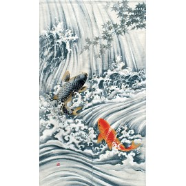 Japanese curtain NOREN KOI NO TAKINOBORI