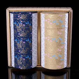 Duo of tea boxes covered with paper, HANAGOYOMI, red and blue