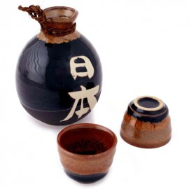 black Japanese Sake SetSake Japanese service 2 glasses and 1 bottle