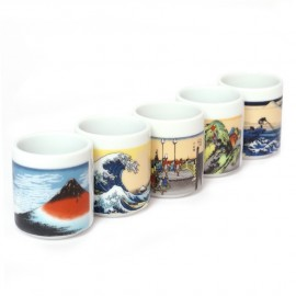 set of 5 Japanese sake cups258619 Ukiyo-E