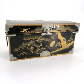 large miniature wooden chest in lacquer, Taishō period