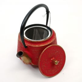 Japanese cast iron teapot from Japan, OIHARU SUJIME RIKYU 0,5lt, red and gold