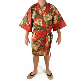 happi red cotton kimono for men ryu