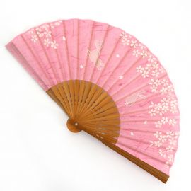 Pink Japanese fan in polyester and bamboo with rabbit and cherry blossom pattern, USAGI SAKURA, 19.5cm