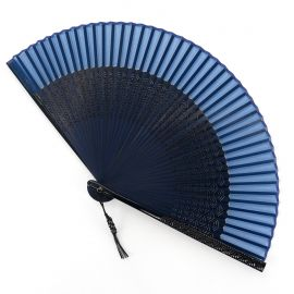 Japanese blue silk fan with plastic decorated with waves, SEIGAIHA, 22cm