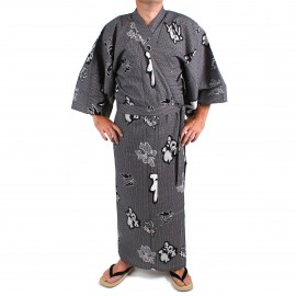 Yukata Japanese blue cotton for Zen man