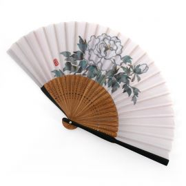 Japanese blue fan in polyester cotton and bamboo with peony flower pattern, BOTAN, 20.5cm