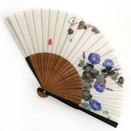 Japanese blue fan in polyester cotton and bamboo flower pattern, morning face, ASAGAO, 20.5cm
