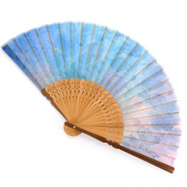 Japanese blue fan in polyester and bamboo with flower pattern, SUISAN, 21cm