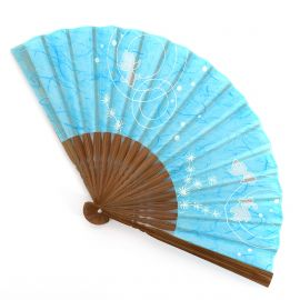 Japanese light blue fan in polyester and bamboo with fish pattern, KINGYO, 19.5cm