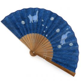 Japanese dark blue fan in polyester and bamboo with cats and balls pattern, NEKO, 19.5cm