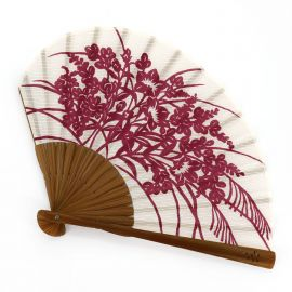 Japanese red cotton and bamboo fan with campanula flower pattern, KIKYO, 21.3cm