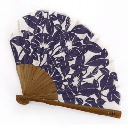 Red Japanese cotton and bamboo fan with morning face flower pattern, ASAGAO, 21.3cm