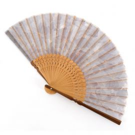 Japanese purple fan in polyester and bamboo with flower pattern, SUISAN, 21cm